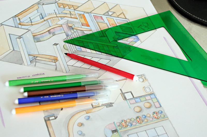 Representacion de dibujo tecnico en color para proyecto de interiorismo y decoracion en Cordoba