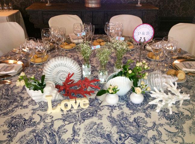 Decoracion y presentacion de mesa en una celebracion de una boda
