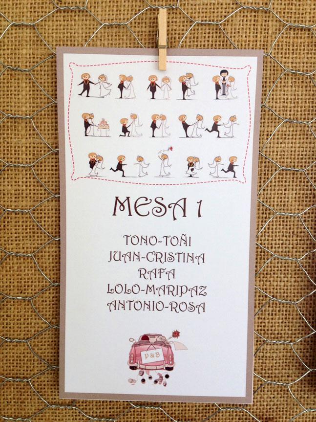 Tarjetón para la distribucion de mesas de los invitados de la boda